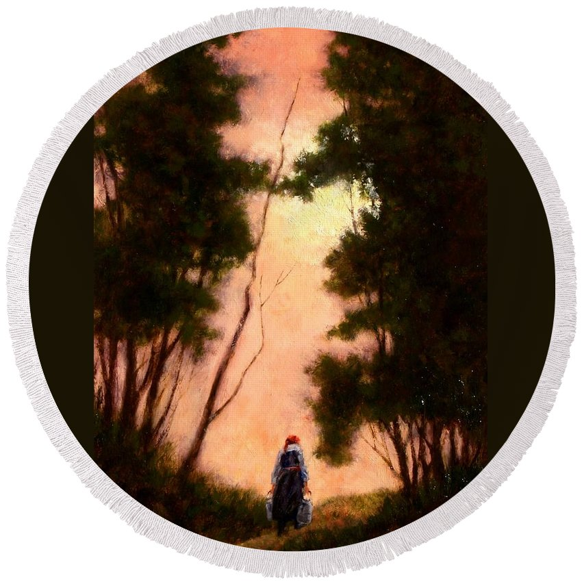 Landscape. Oil Painting Round Beach Towel featuring the painting The Walk Home by Jim Gola