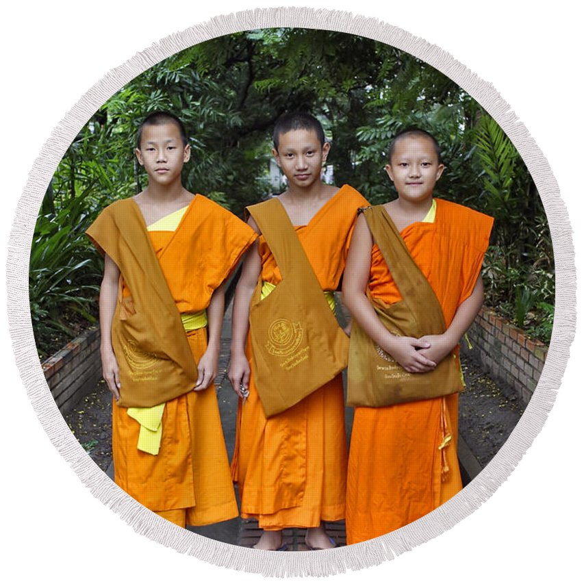 3scape Round Beach Towel featuring the photograph Three Young Monks by Adam Romanowicz