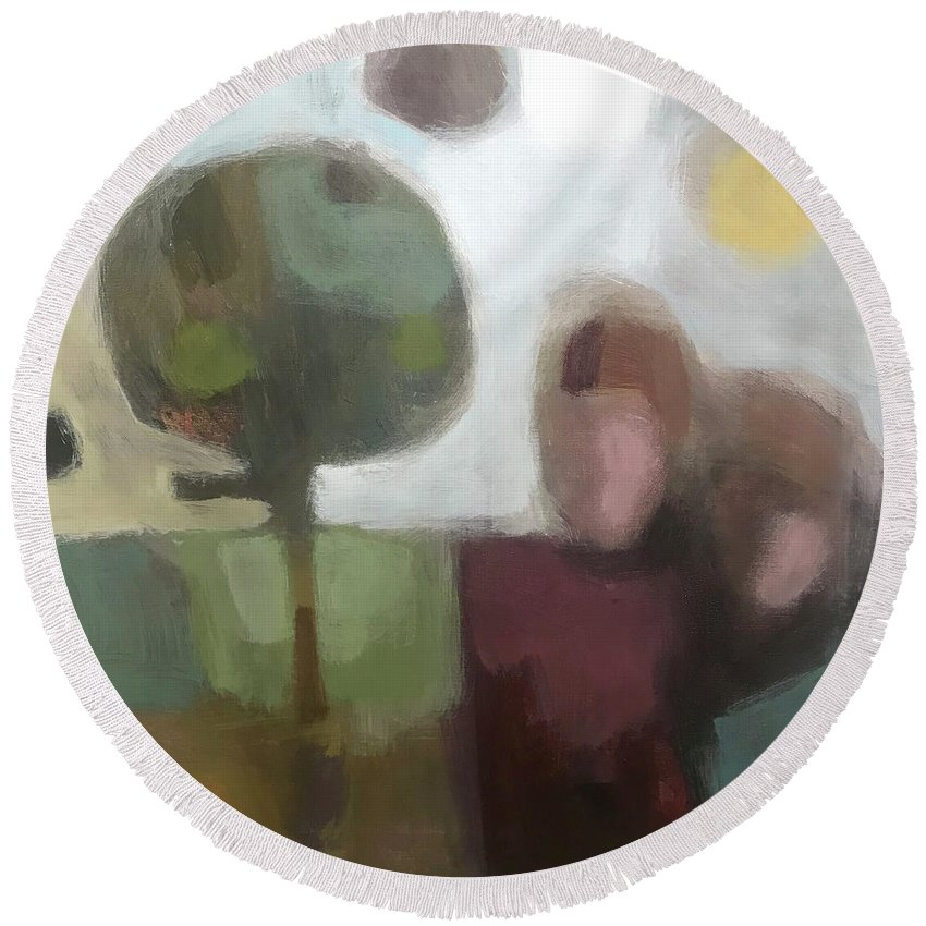 Landscape Round Beach Towel featuring the painting Together by Farhan Abouassali
