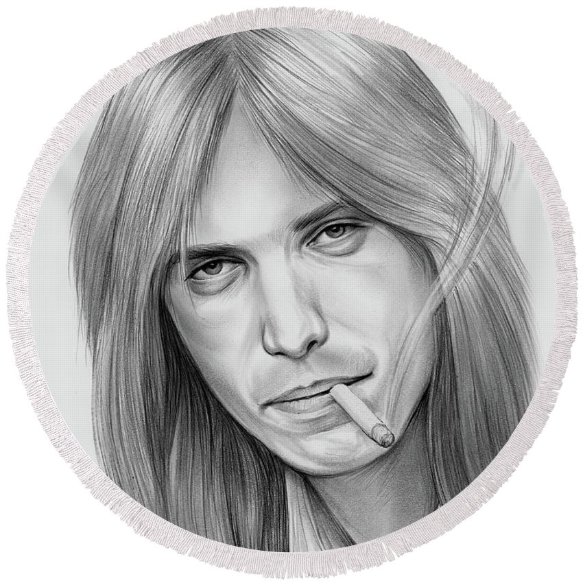 Tom Petty Round Beach Towel featuring the drawing Tom Petty - Pencil by Greg Joens