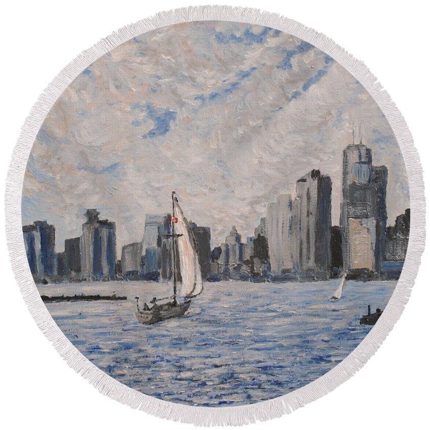 Toronto Round Beach Towel featuring the painting Toronto Harbor East Gap by Ian MacDonald