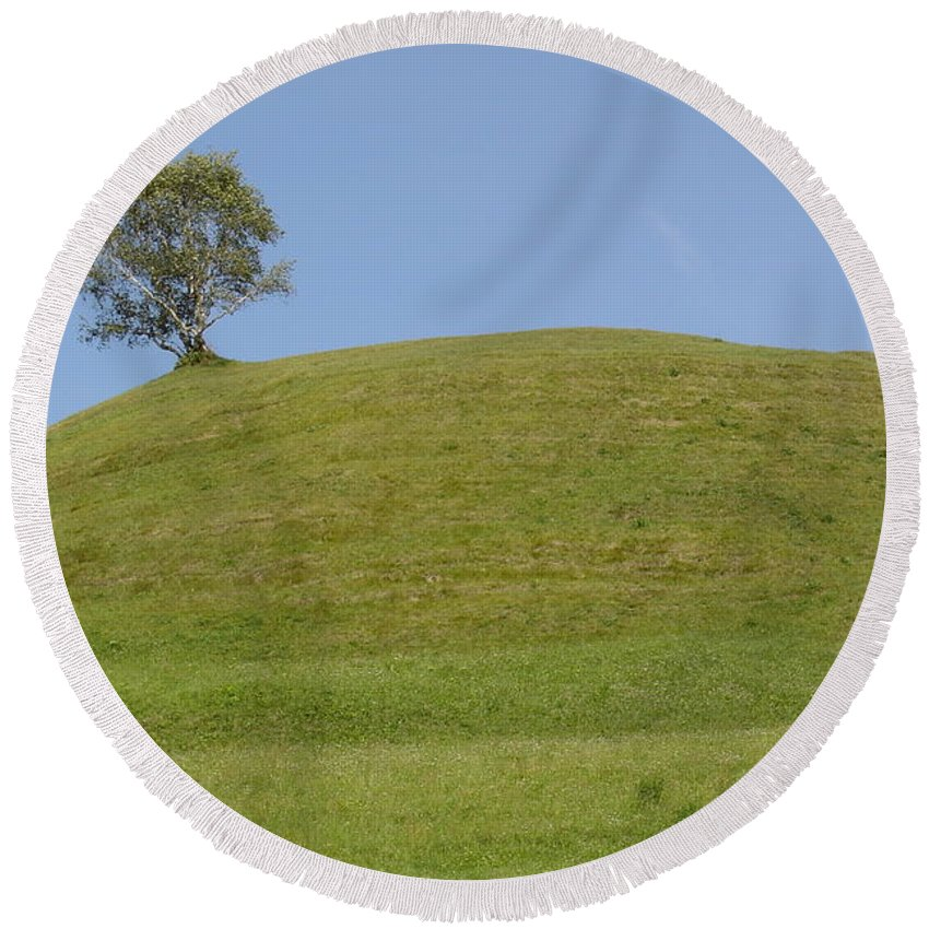 Landscape Round Beach Towel featuring the photograph Tree by Alena Zenkel
