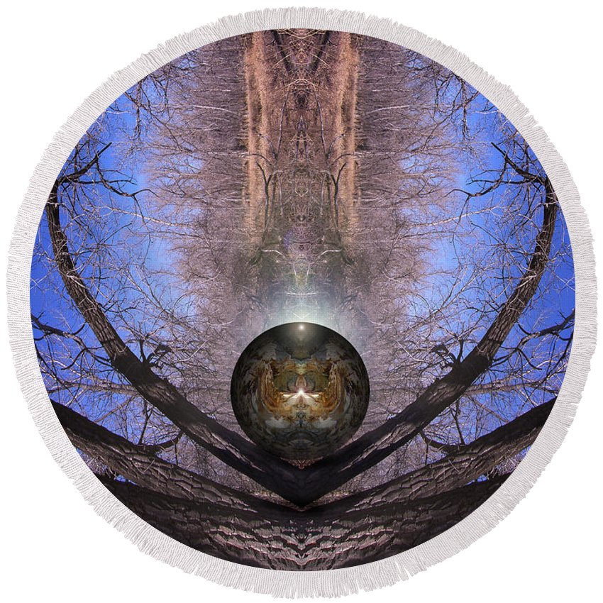 Digital Round Beach Towel featuring the digital art Treespirit by Otto Rapp