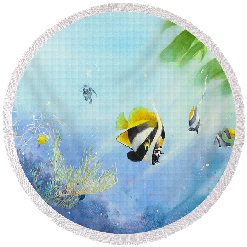 Watercolor Painting Round Beach Towel featuring the painting Tropical Fantasy IV by Laura Lee Zanghetti