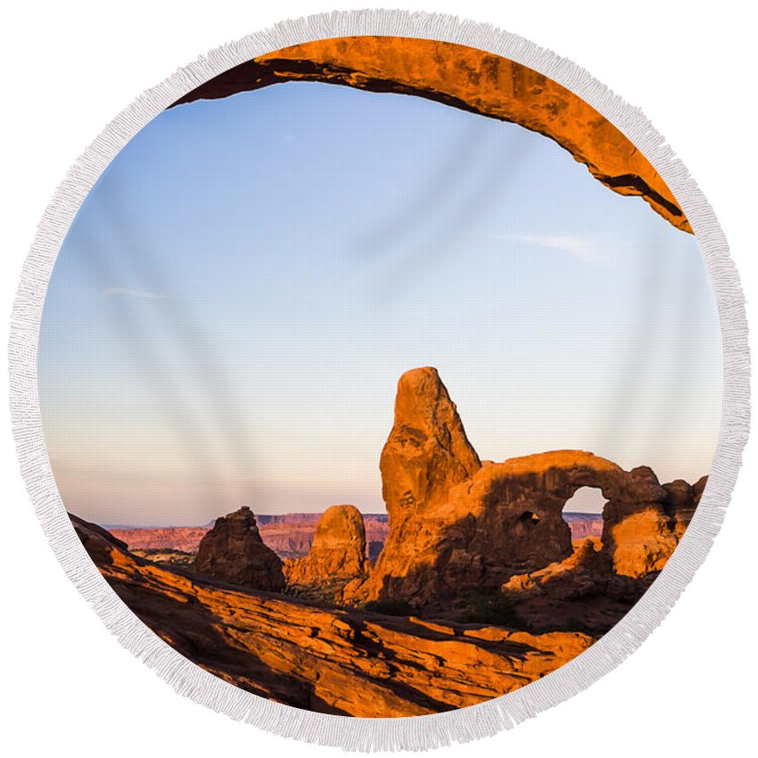 3scape Round Beach Towel featuring the photograph Turret Arch at Sunrise by Adam Romanowicz
