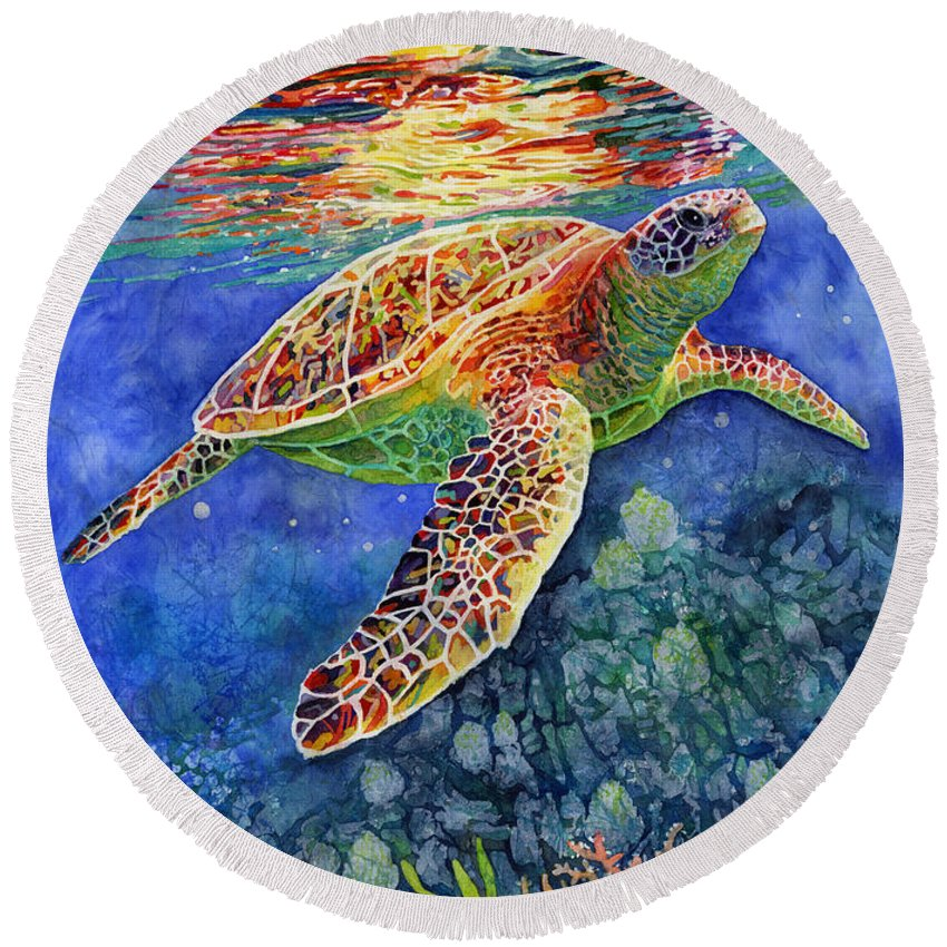 Turtle Round Beach Towel featuring the painting Turtle Reflections by Hailey E Herrera