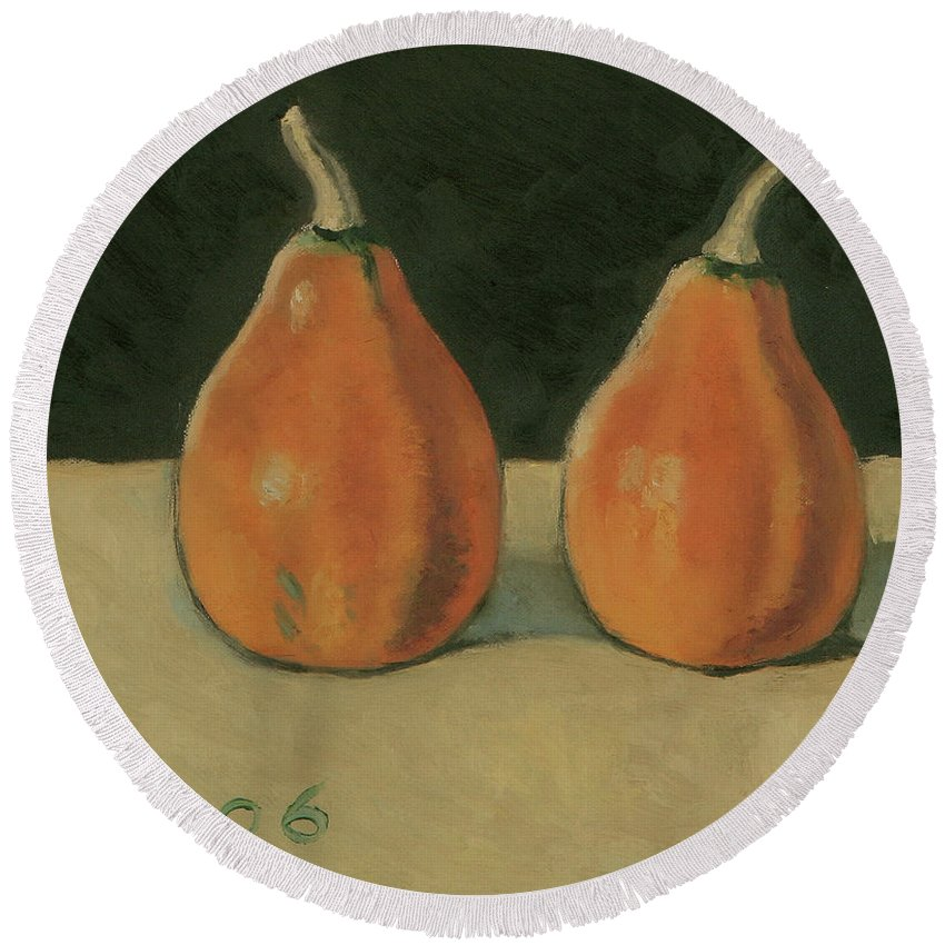 Still-life Pumpkins Orange Round Beach Towel featuring the painting Two Orange Pumpkins by Raimonda Jatkeviciute-Kasparaviciene