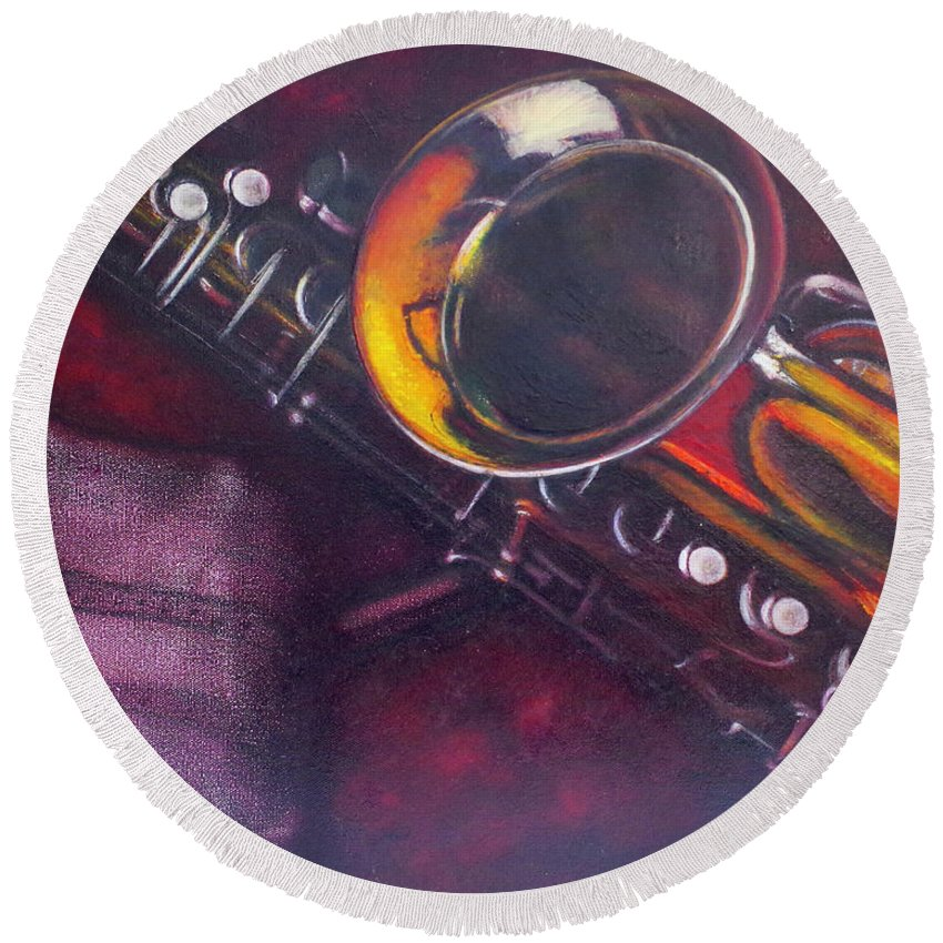 Oil Painting On Canvas Round Beach Towel featuring the painting Unprotected Sax by Sean Connolly