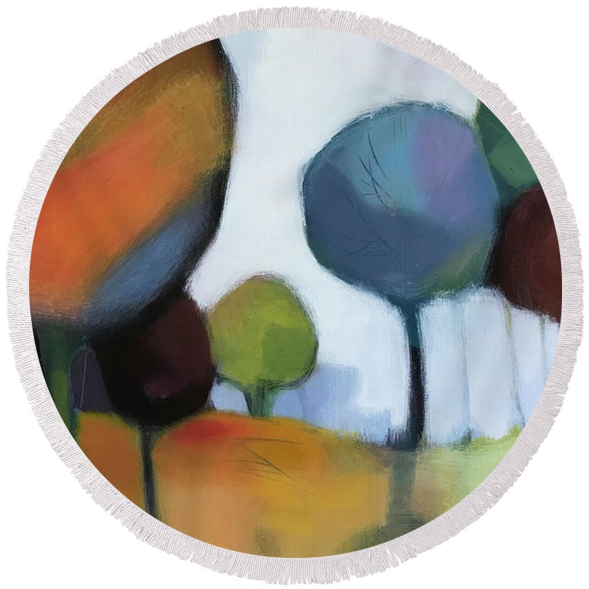 Landscape Round Beach Towel featuring the painting Untitled III by Farhan Abouassali
