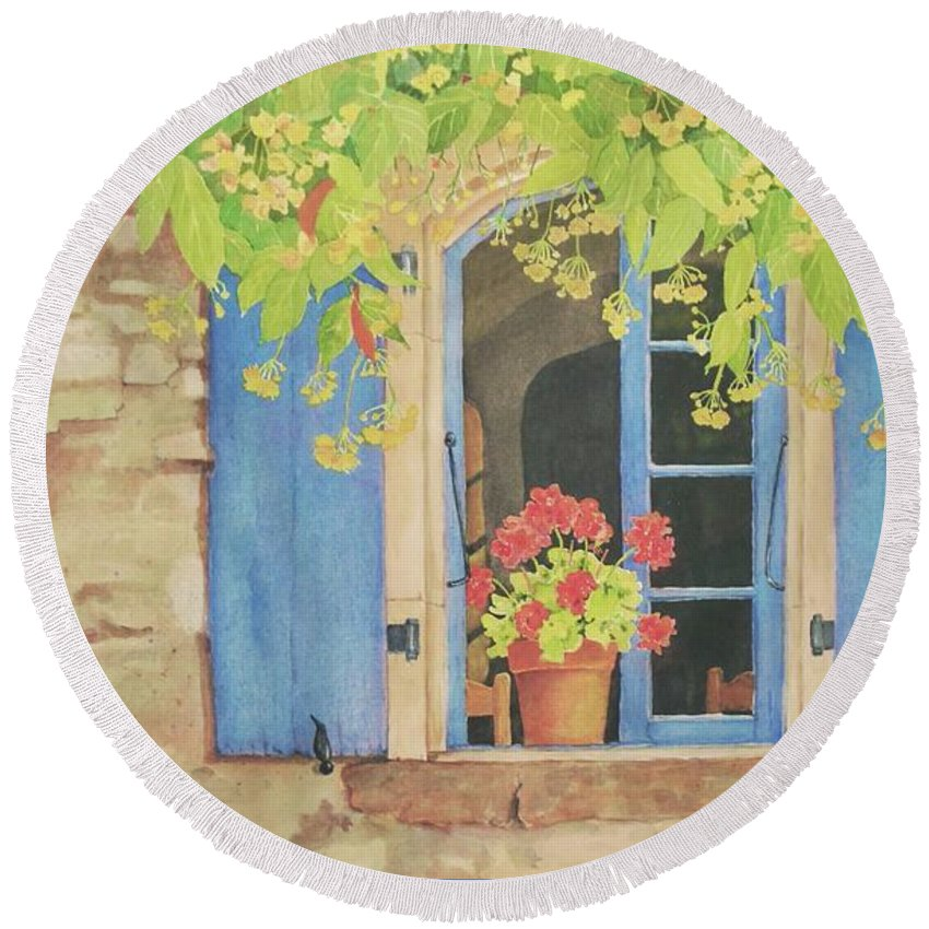 France Round Beach Towel featuring the painting Vacation Memory by Mary Ellen Mueller Legault