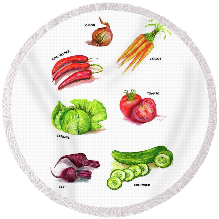 Vegetables Round Beach Towel featuring the painting Vegetables kitchen art by Natalja Picugina