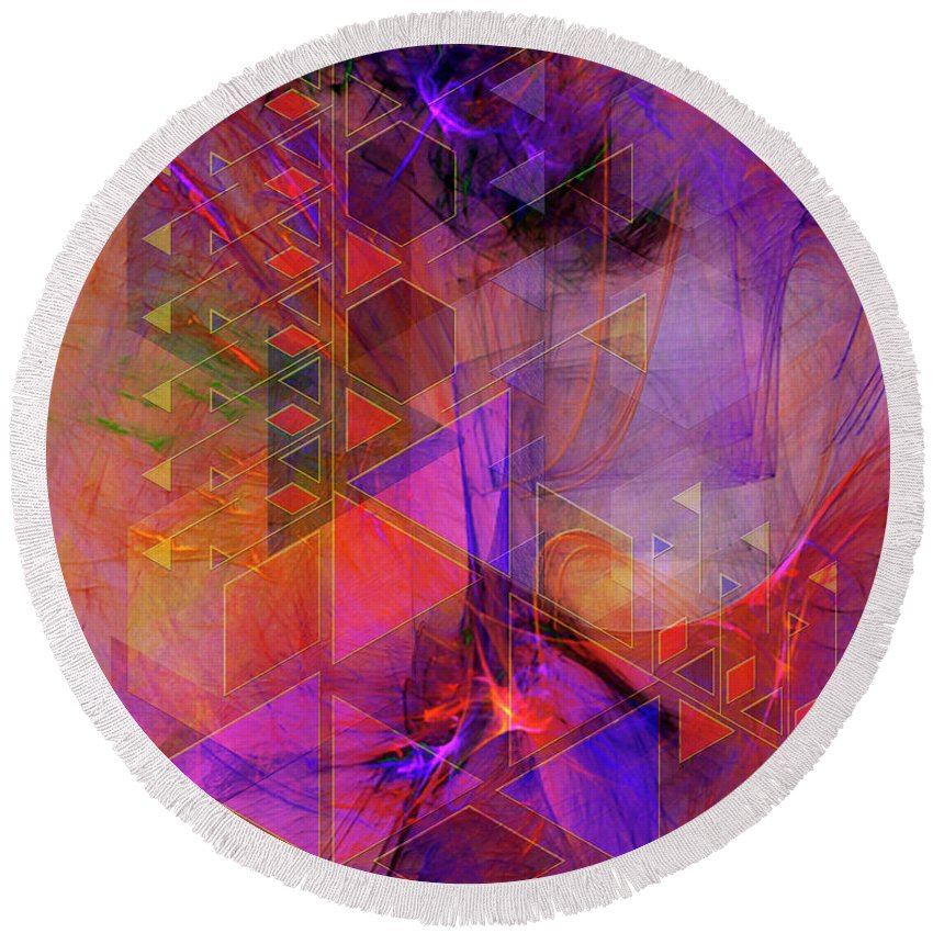 Vibrant Echoes Round Beach Towel featuring the digital art Vibrant Echoes by John Robert Beck