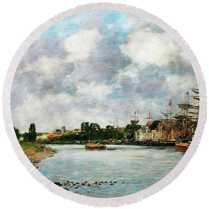 View Of The Port Of Saint Round Beach Towel featuring the painting View Of The Port Of Saint, Valery-sur-somme - Digital Remastered Edition by Eugene Louis Boudin