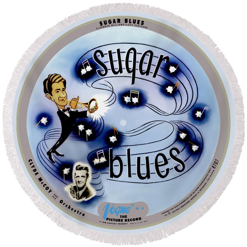 Vogue Picture Record Round Beach Towel featuring the digital art Vogue Record Art - R 707 - P 5, Blue Logo - Square Version by John Robert Beck