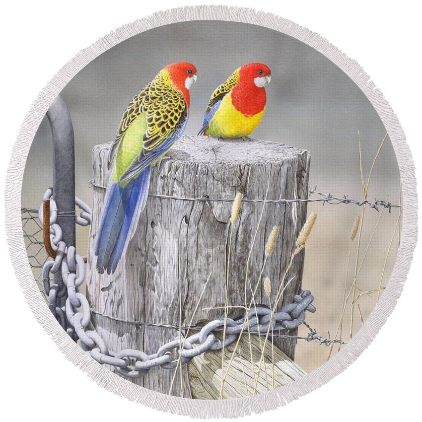 Bird Round Beach Towel featuring the painting Waiting for the Rains - Eastern Rosellas by Frances McMahon