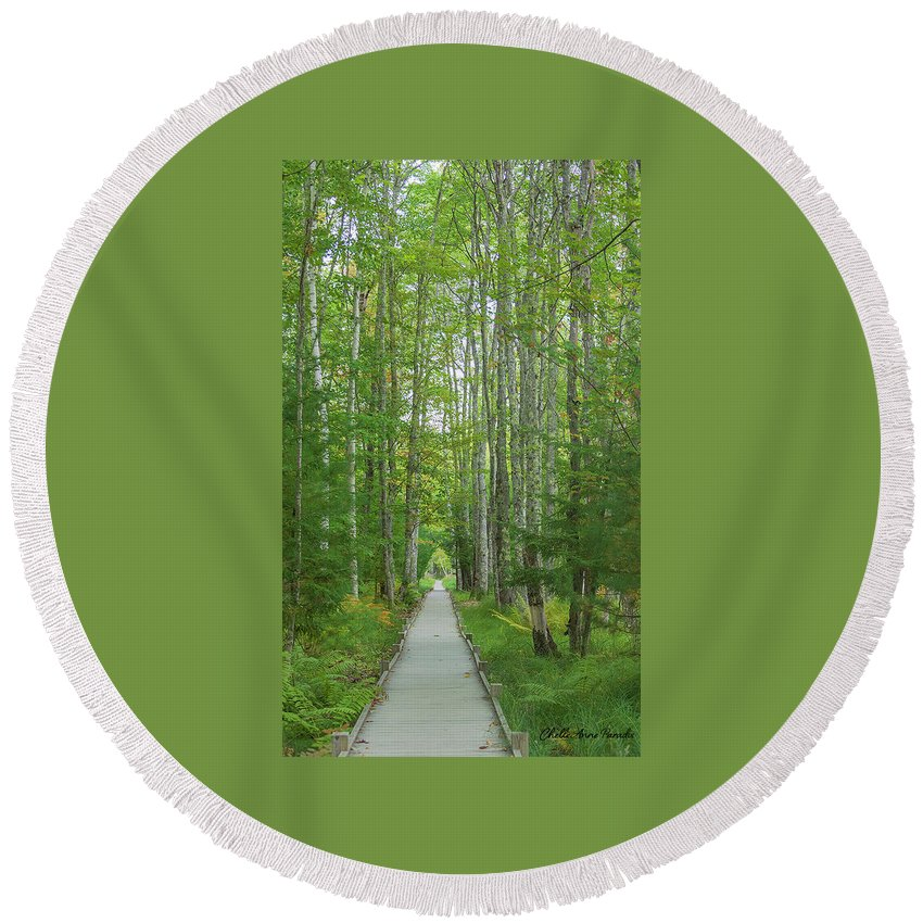 Trees Round Beach Towel featuring the photograph Walk In Silence by ChelleAnne Paradis