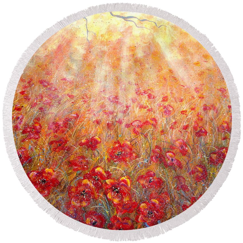 Landscape Round Beach Towel featuring the painting Warm Sun Rays by Natalie Holland