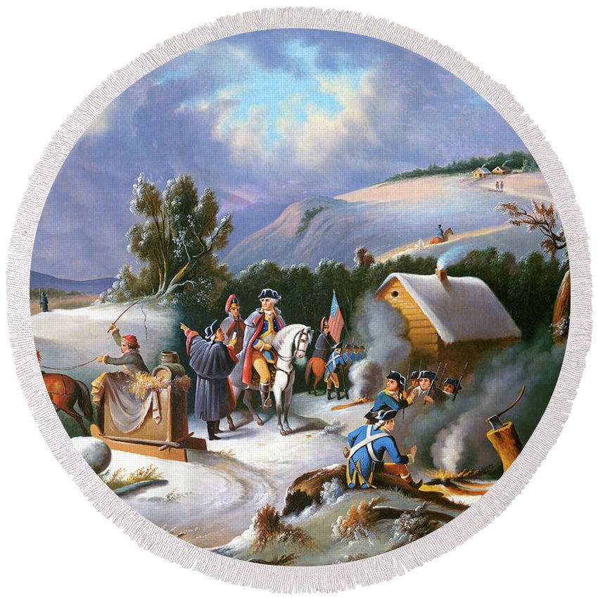 George Washington Round Beach Towel featuring the painting Washington at Valley Forge by Anonymous