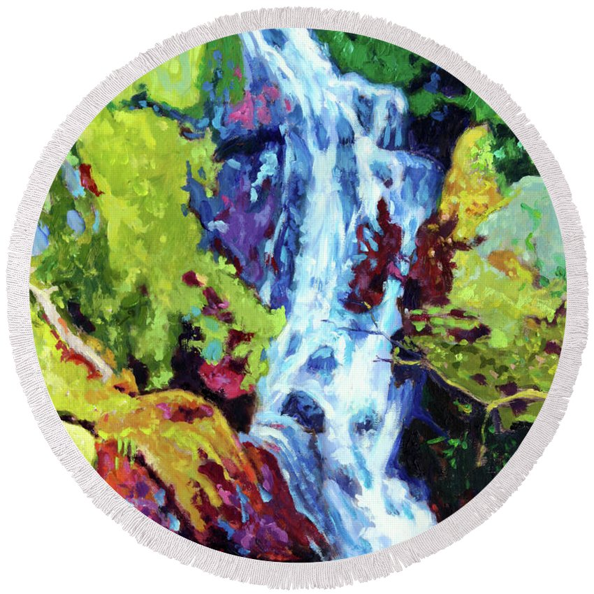 Waterfall Round Beach Towel featuring the painting Waterfall by John Lautermilch