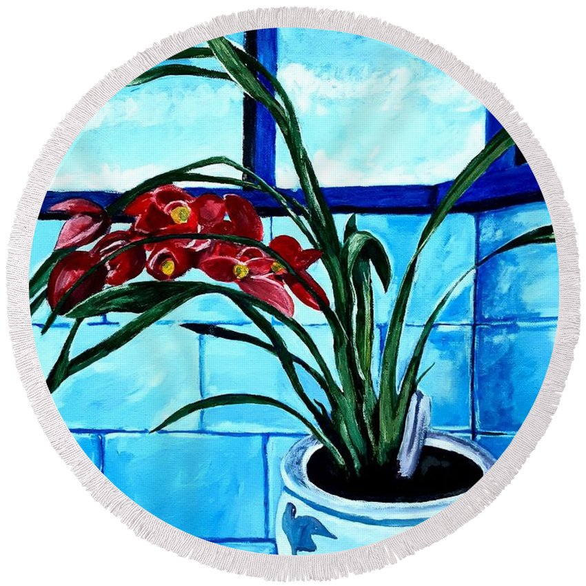 Still Life Round Beach Towel featuring the painting Welcome Flower by Andrew Johnson