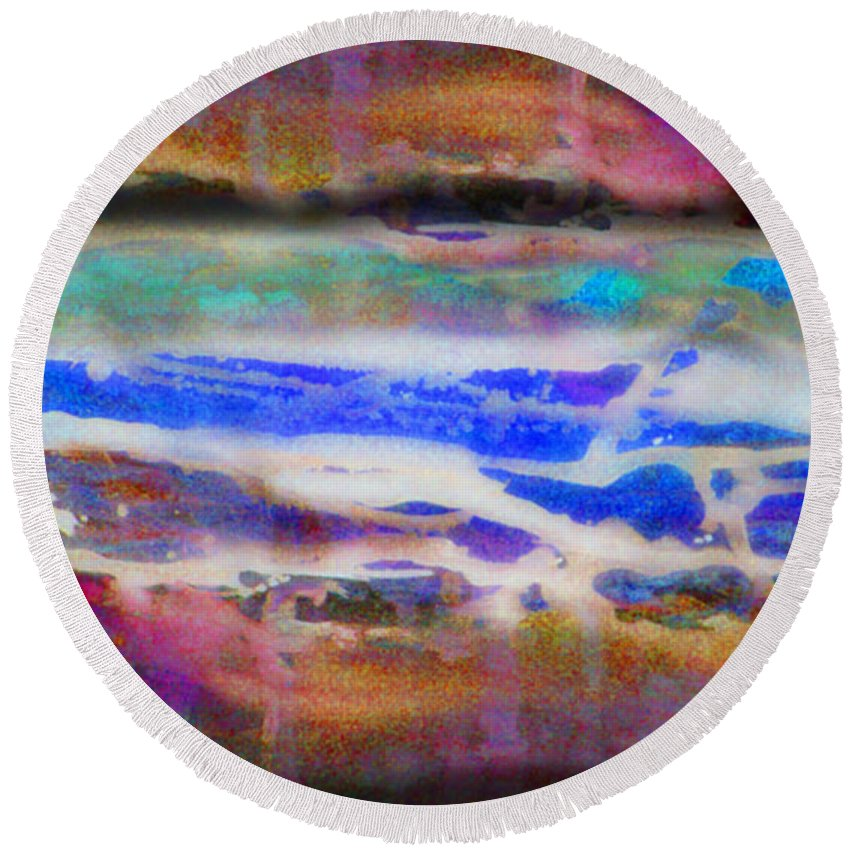 Rick Huotari Round Beach Towel featuring the painting When the day comes by Rick Huotari