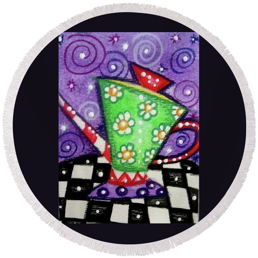 Whimsical Round Beach Towel featuring the painting Whimsical Green Teapot by Monica Resinger
