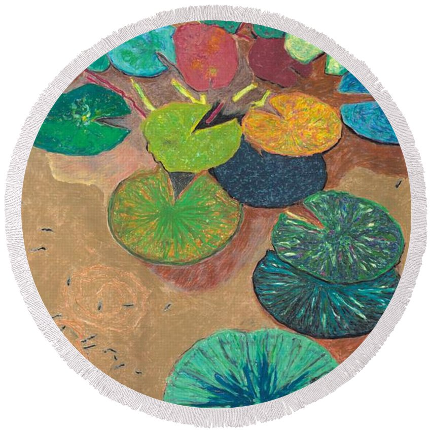 Landscape Round Beach Towel featuring the painting White Lily by Allan P Friedlander