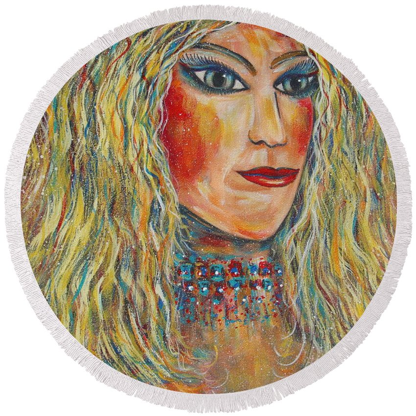 Nude Round Beach Towel featuring the painting Wild Jungle Woman by Natalie Holland