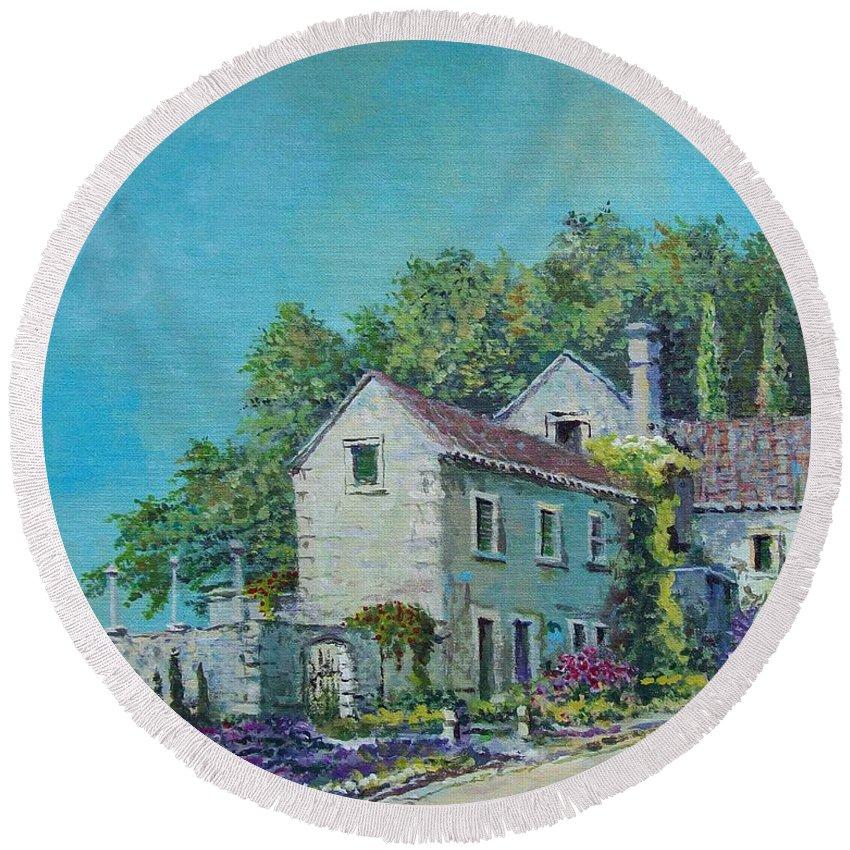 Original Painting Round Beach Towel featuring the painting Village Vista by Sinisa Saratlic