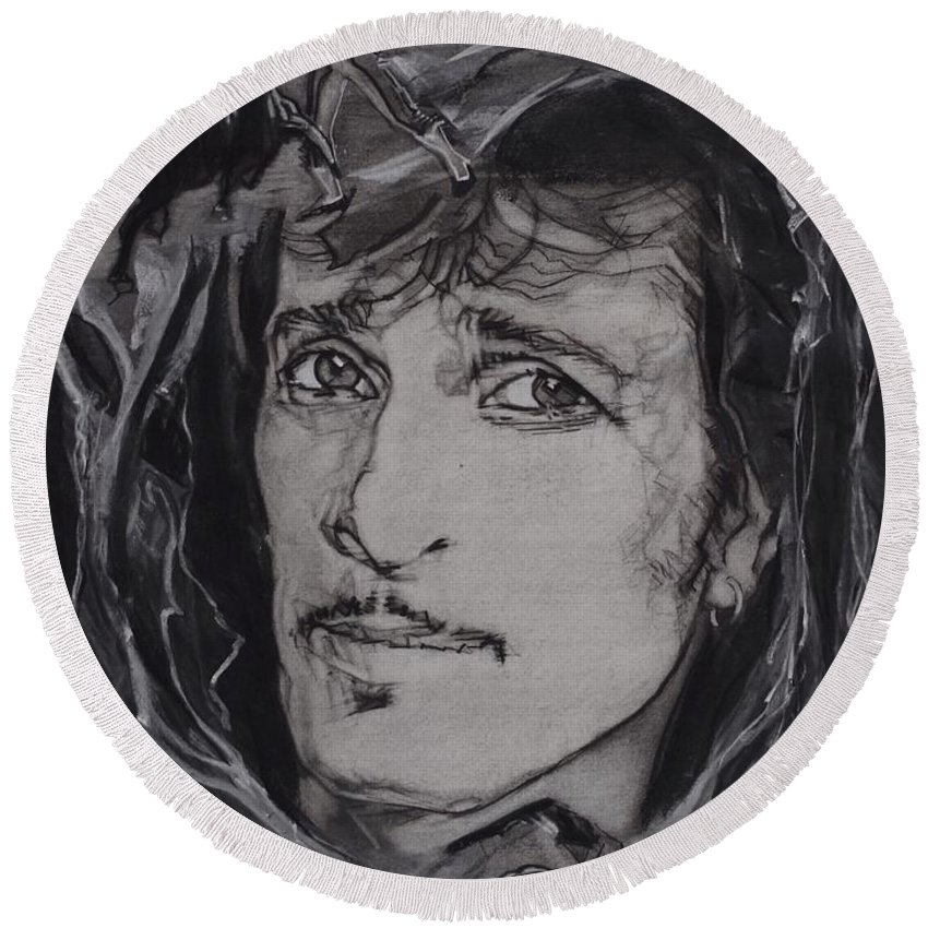 Charcoal On Paper Round Beach Towel featuring the drawing Willy DeVille - Coup de Grace by Sean Connolly