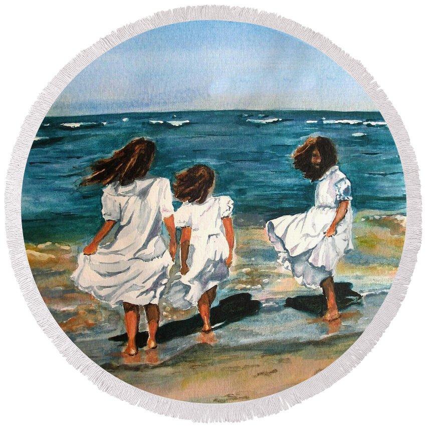 Girls Round Beach Towel featuring the painting Windy Day by Karen Ilari