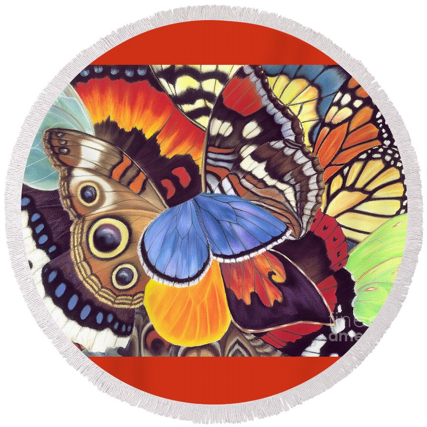 Butterflies Round Beach Towel featuring the painting Wings Of California by Lucy Arnold