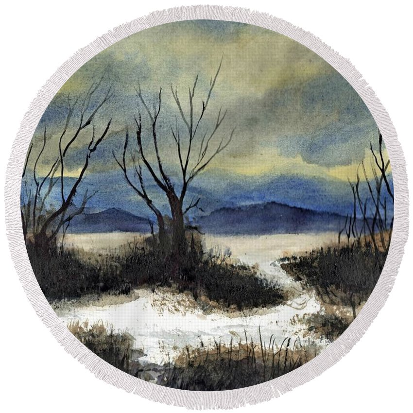 California Round Beach Towel featuring the painting Winter Cold Big Bear Lake by Randy Sprout