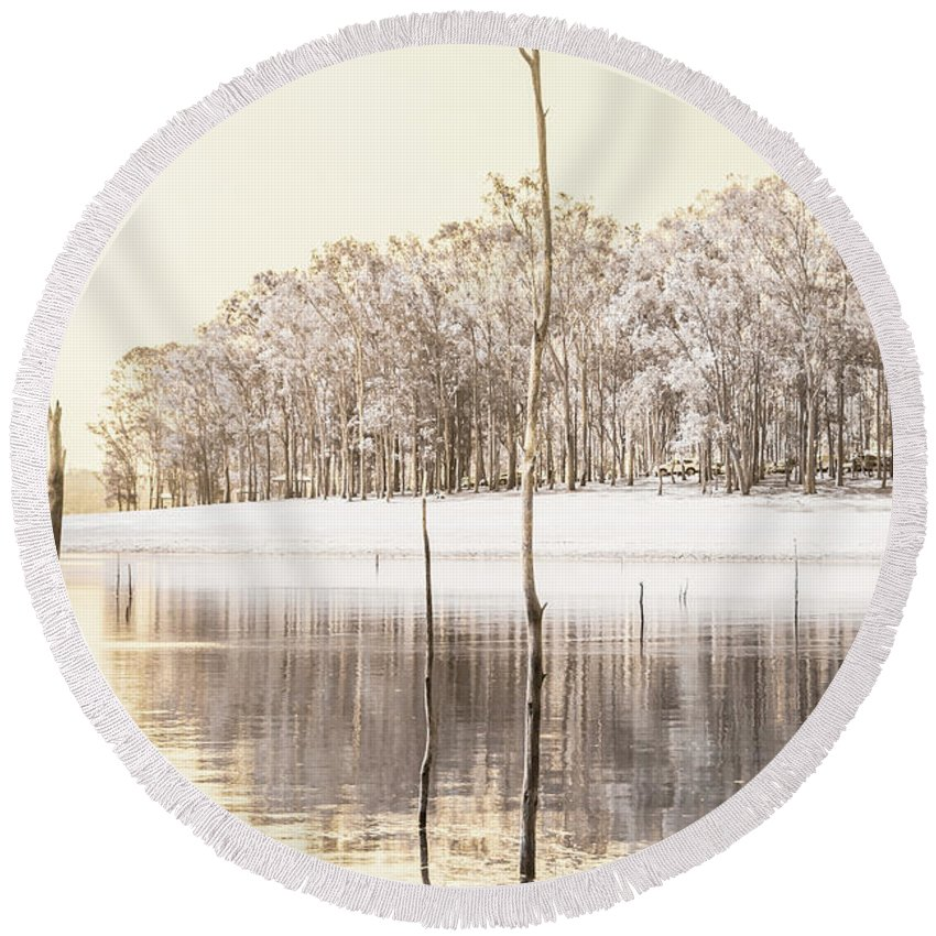 Landscape Round Beach Towel featuring the photograph Winters Edge by Jorgo Photography - Wall Art Gallery
