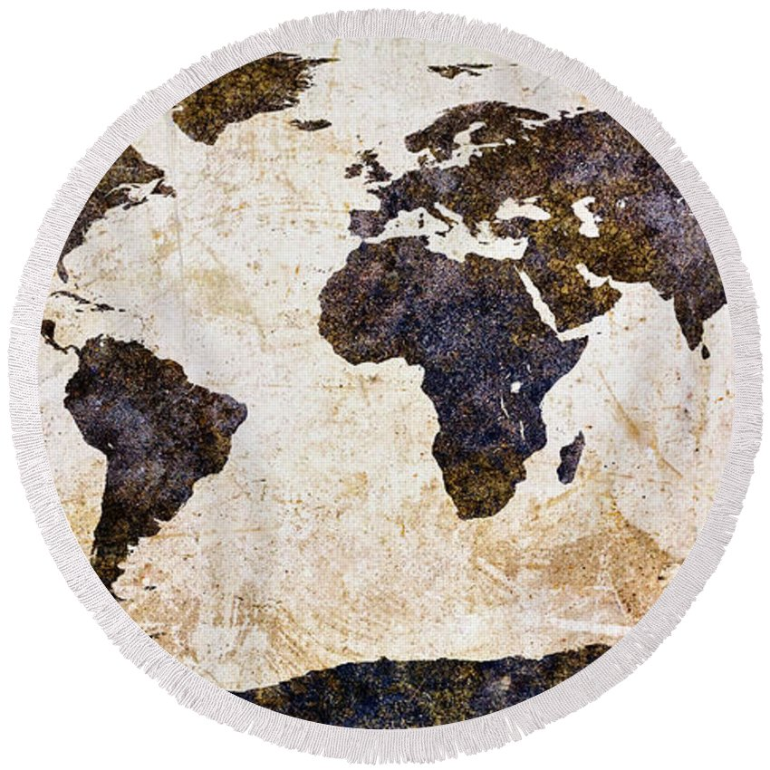 Earth Round Beach Towel featuring the mixed media World Map Abstract by Bob Orsillo