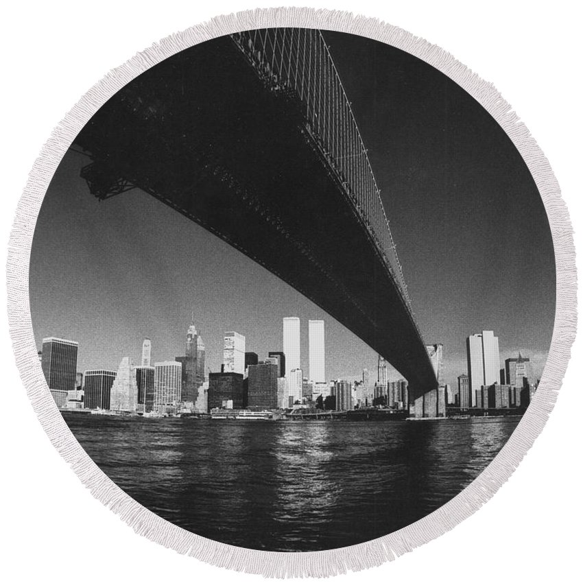 Famous Buildings Round Beach Towel featuring the photograph World Trade Center Nyc by Steven Huszar