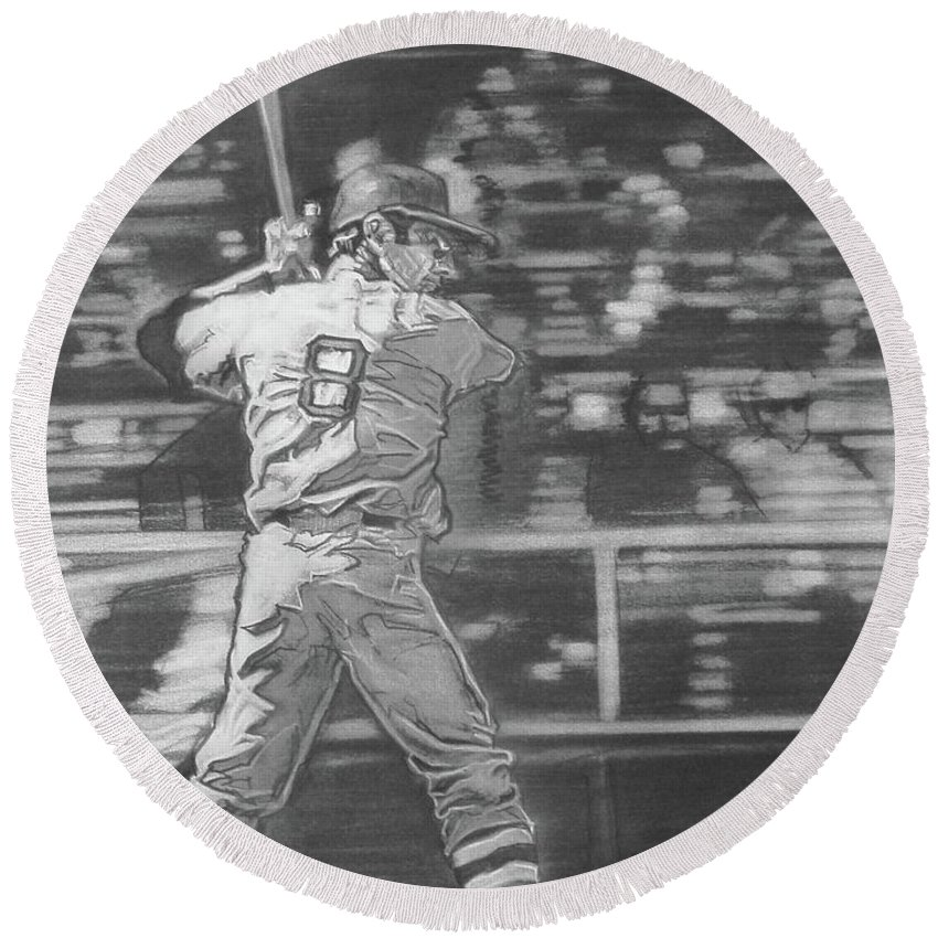 Charcoal Pencil On Paper Round Beach Towel featuring the drawing Yaz - Carl Yastrzemski by Sean Connolly