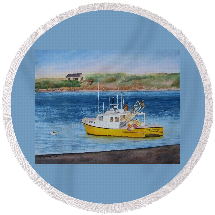 Landscape Round Beach Towel featuring the painting Yellow Bird by Sharon Farber