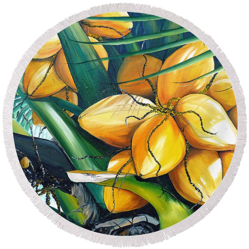 Coconut Painting Botanical Painting  Tropical Painting Caribbean Painting Original Painting Of Yellow Coconuts On The Palm Tree Round Beach Towel featuring the painting Yellow Coconuts by Karin Dawn Kelshall- Best