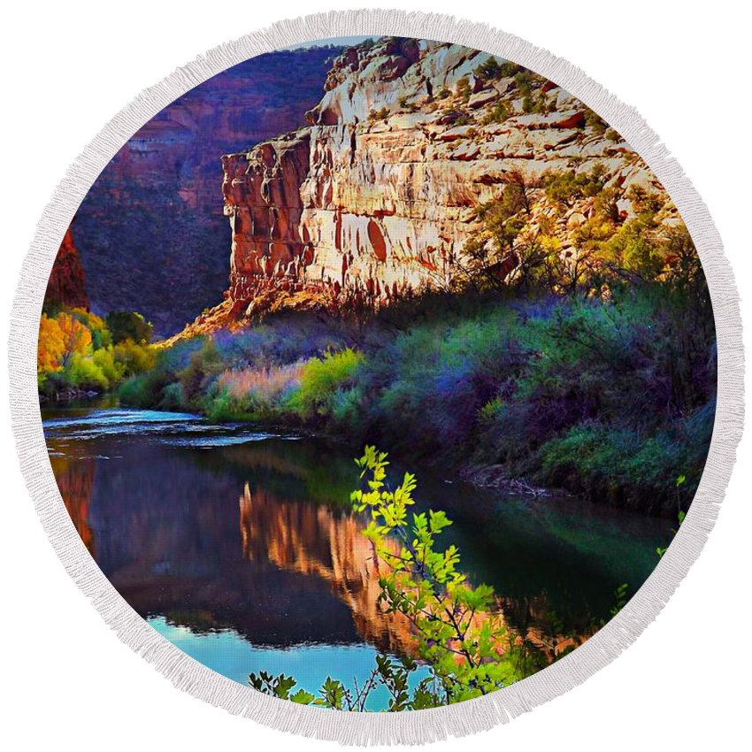 Gorgeous Deep Colors Along The Dolores River Canyon In The Fall Purples Blues Tans Greens Pink Teal Yellow Round Beach Towel featuring the digital art Yellow green Leave over the River by Annie Gibbons