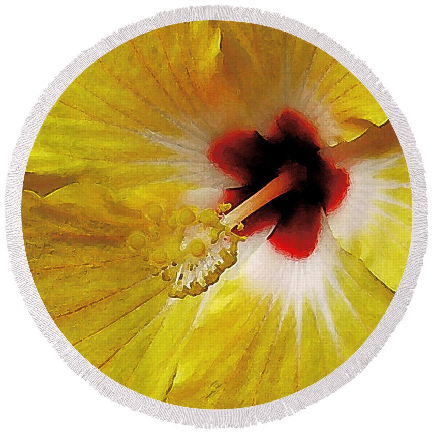 Hawaii Iphone Cases Round Beach Towel featuring the photograph Yellow Hibiscus With Red Center by James Temple