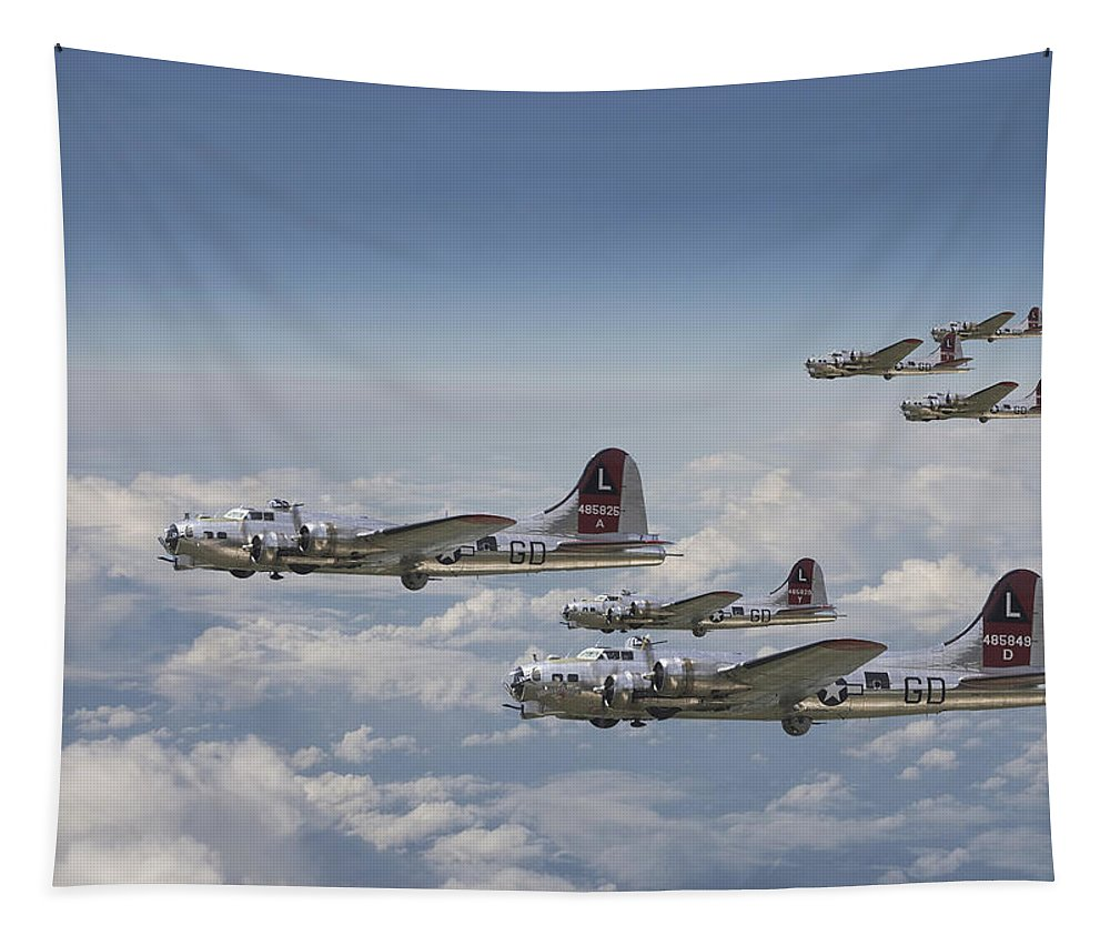 Aircraft Tapestry featuring the digital art 381st Group Outbound by Pat Speirs