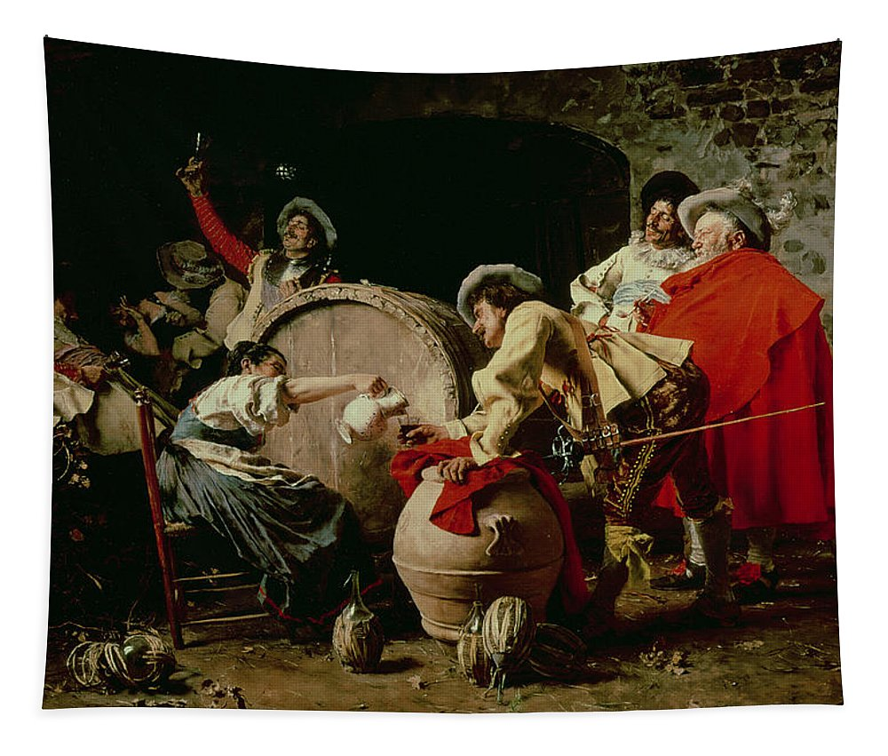 Cavalier; Wine; Keg; Barrel; Drink; Toast; Cheers; Men; Woman; Pouring; Drinking; Drunk; Celebrating; Musketeer; Cape; Soldiers Tapestry featuring the painting A Good Vintage by Francesco Vinea