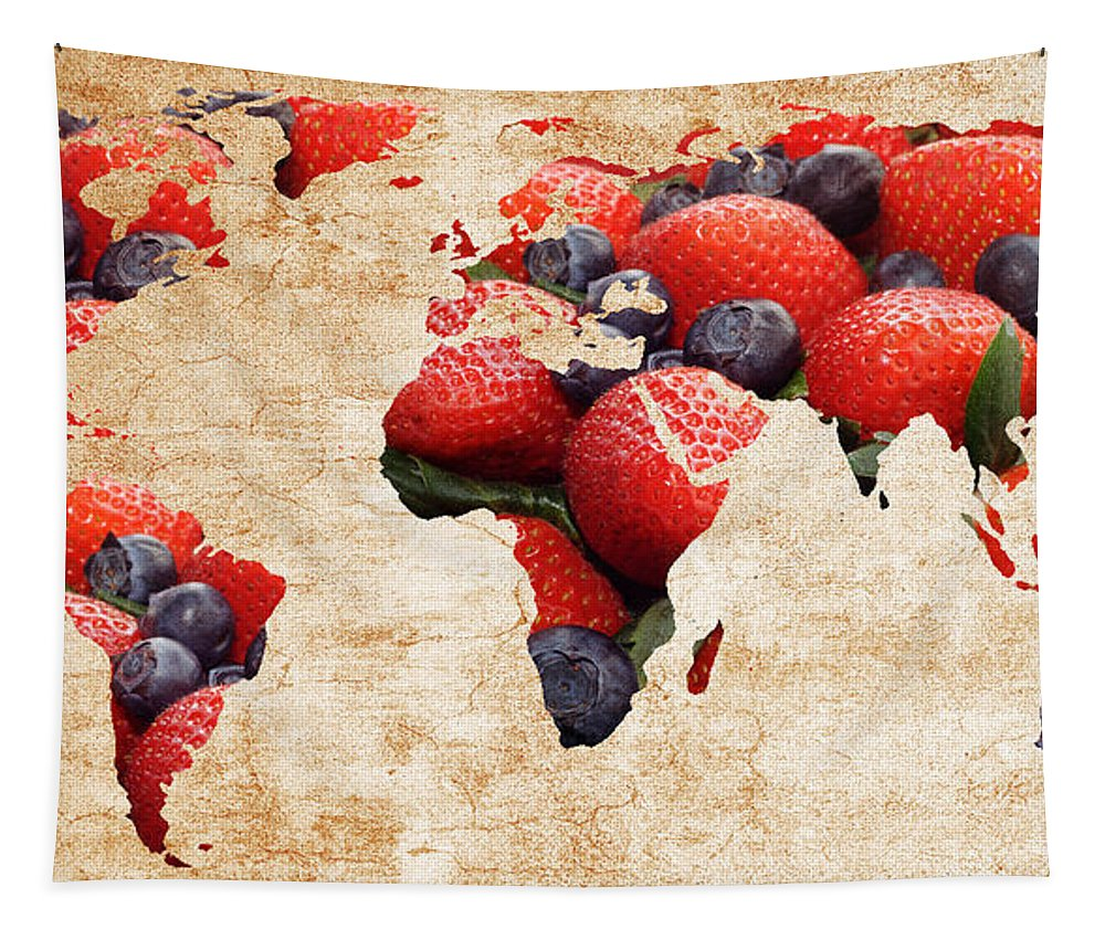 Abstract Tapestry featuring the photograph Abstract World Map - Berries And Cream - Tan by Andee Design