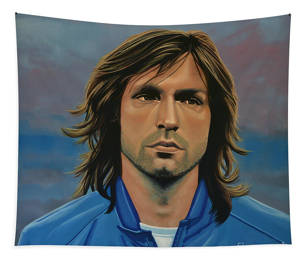 Andrea Pirlo Tapestry featuring the painting Andrea Pirlo by Paul Meijering