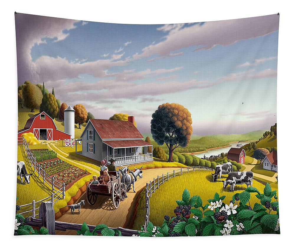 Farm Landscape Tapestry featuring the painting Appalachian Blackberry Patch Rustic Country Farm Folk Art Landscape - Rural Americana - Peaceful by Walt Curlee