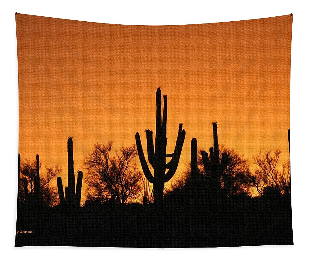 Arizona Sagurao Sunset Tapestry featuring the photograph Arizona Sagurao Sunset by Tom Janca