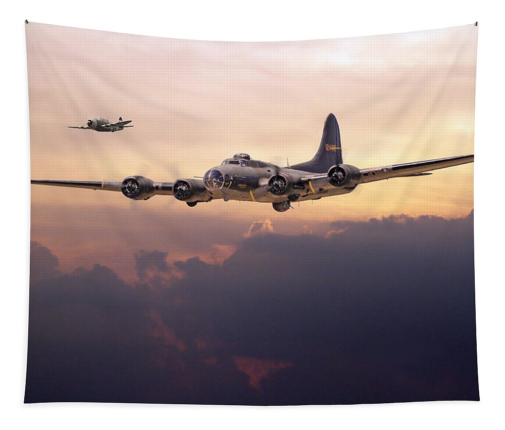 Aircraft Tapestry featuring the digital art B17- Last Home by Pat Speirs