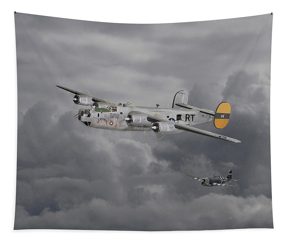 Aircraft Tapestry featuring the digital art B24 Liberator 446th Bomb Group by Pat Speirs