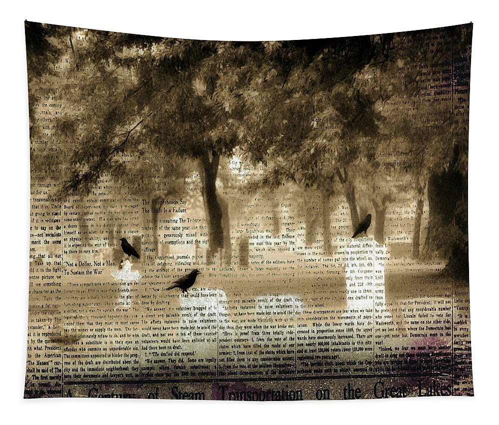 Old Paper Collage Tapestry featuring the digital art Collage Of Goth by Gothicrow Images